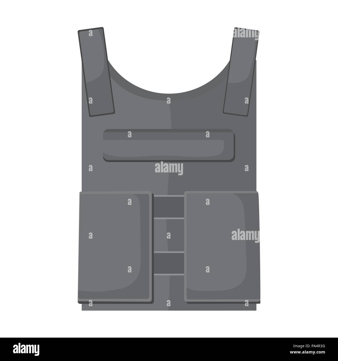 Army bulletproof vest icon in monochrome style isolated on
