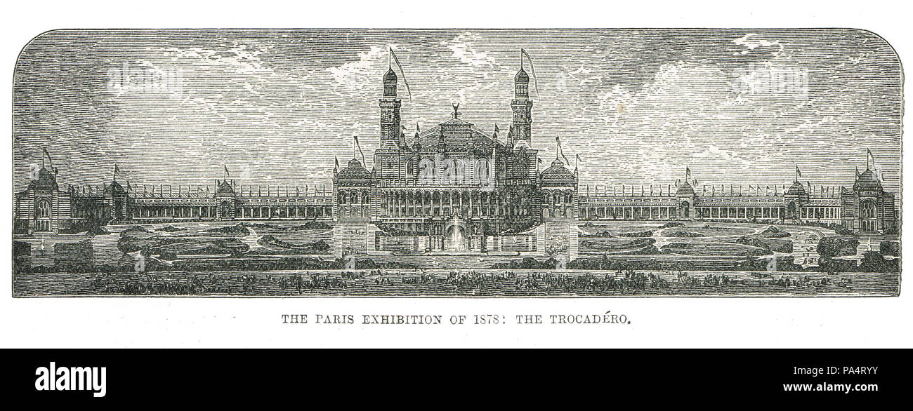 The Trocadero palace, Exposition Universelle, Paris Exhibition of 1878, France - Stock Image