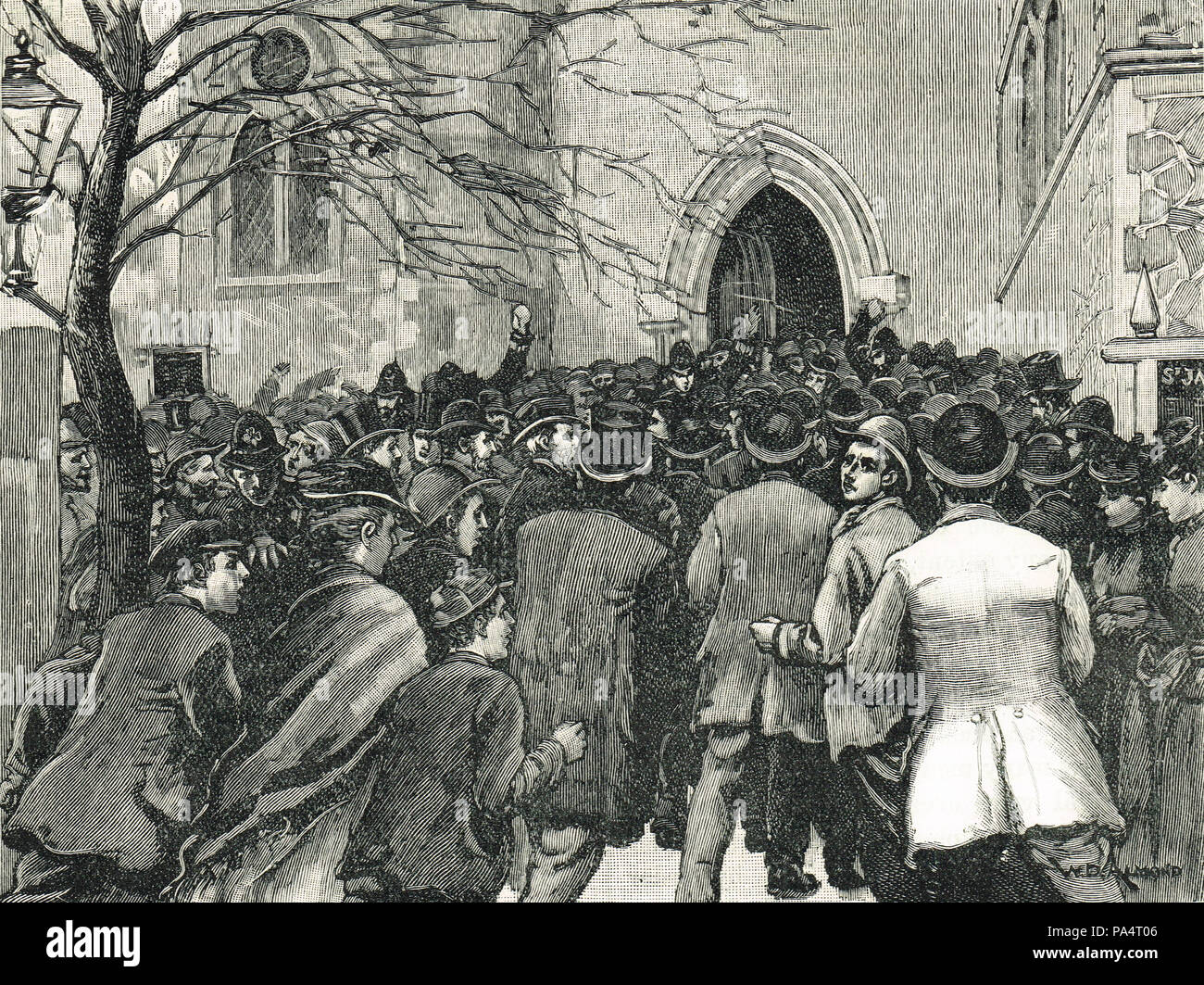 Riot at the church of St. James, Hatcham, 1877, protests at practises of Arthur Tooth, ritualist priest in the Church of England - Stock Image