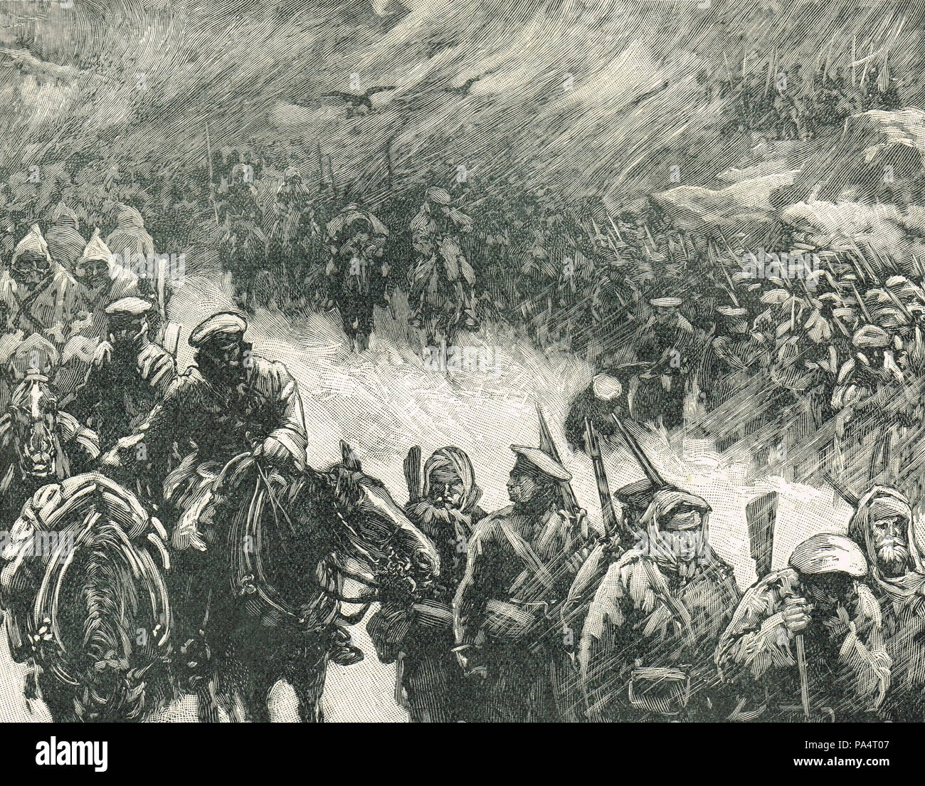 Russian army under field marshal Gourko, crossing the Balkans, during the Russo-Turkish War 1877-78 - Stock Image