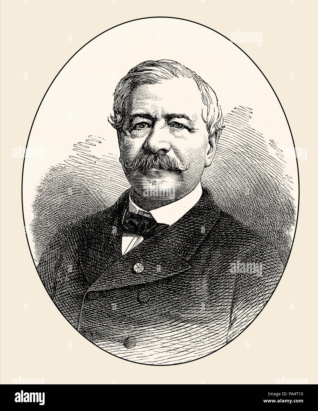 Ferdinand Marie Vicomte de Lesseps, 1805 - 1894, a French diplomat and initiator of the Suez Canal, From British Battles on Land and Sea, by James Gra - Stock Image