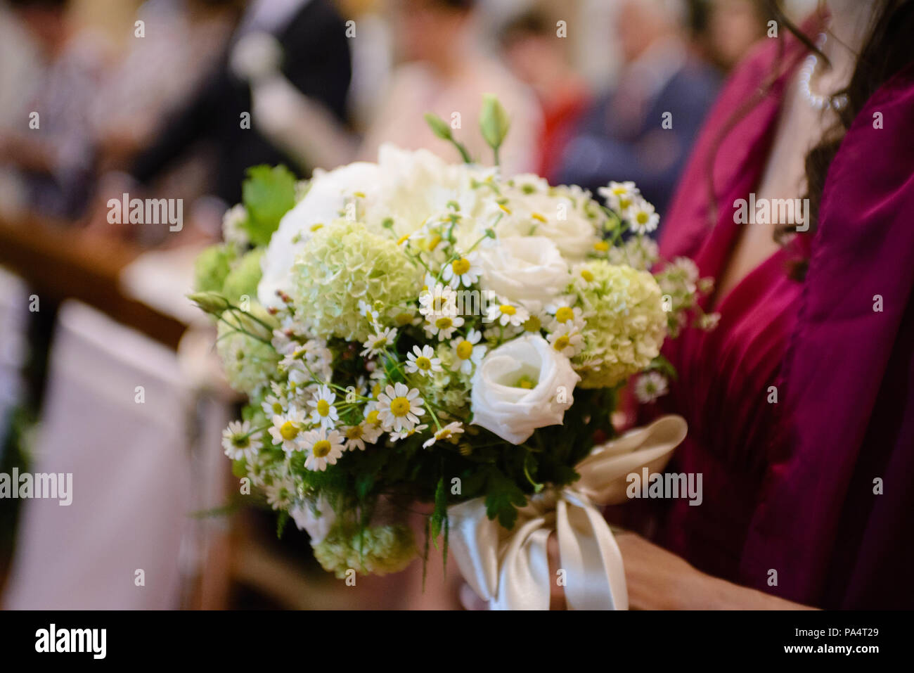 Floral Decorations In Church For Wedding Celebration Stock