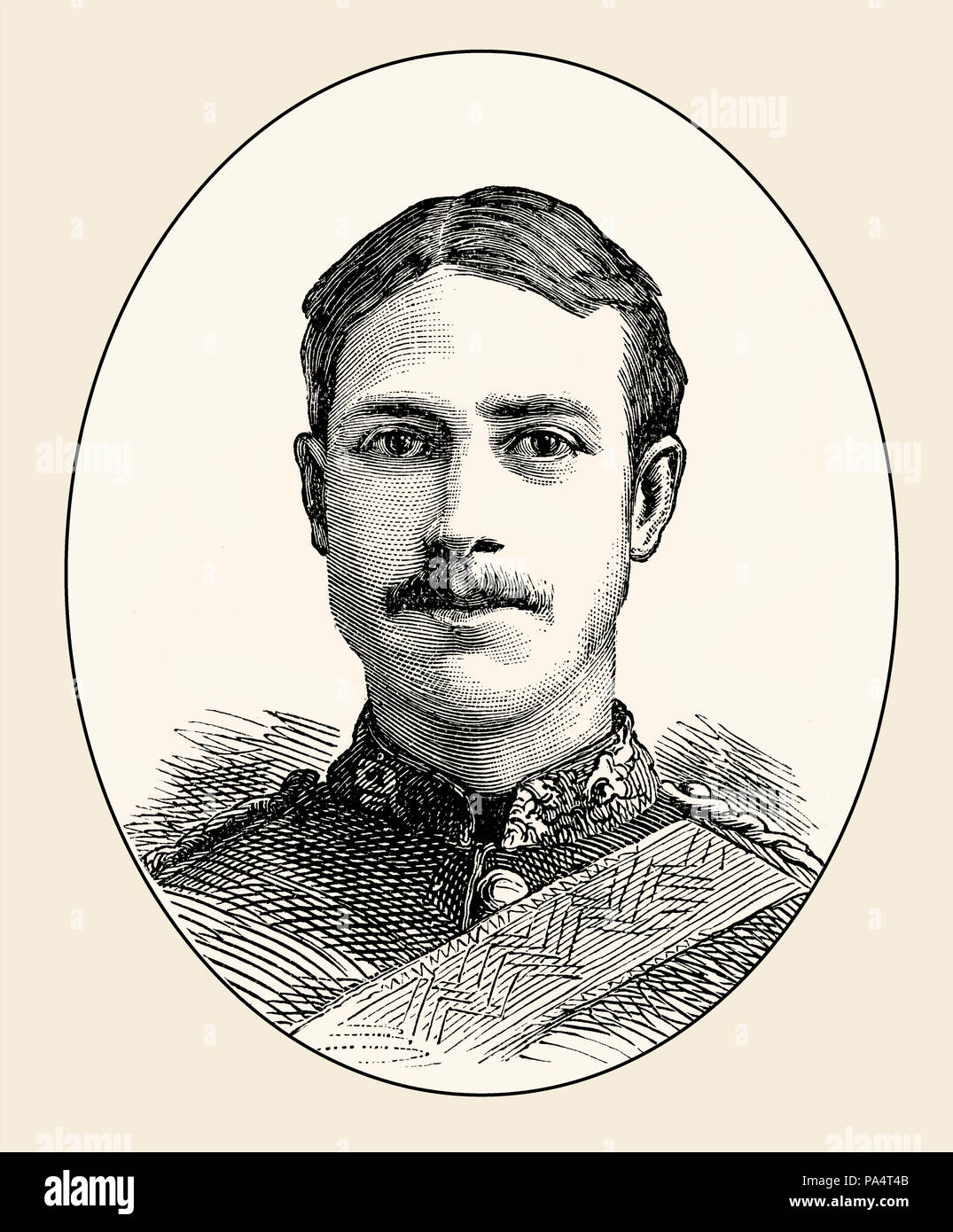 Lieutenant Henry Gribble of the British army, 3rd Dragoon Guards, killed at Kassassin, Egypt 1882, From British Battles on Land and Sea, by James Gran - Stock Image