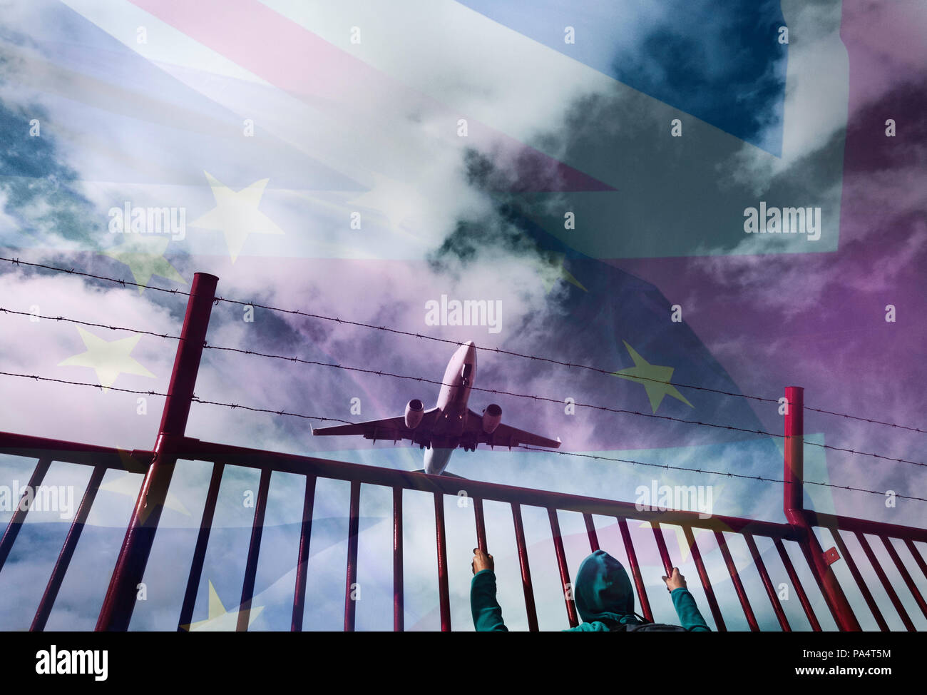 European Union and UK flag blended with sky above airport. Person behind fence. EU/UK/Irish border Brexit, immigration...concept. - Stock Image