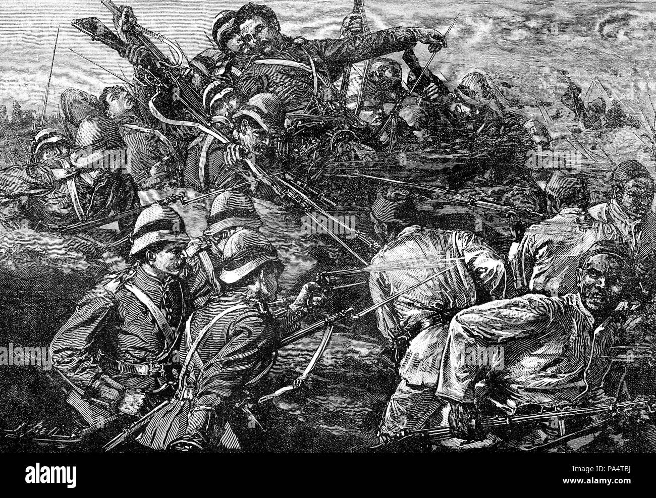 Highland Brigade assaulting the Egyptian entrenchments at the Battle of Tel-el-Kebir on 13th September 1882, Egyptian War, From British Battles on Lan - Stock Image