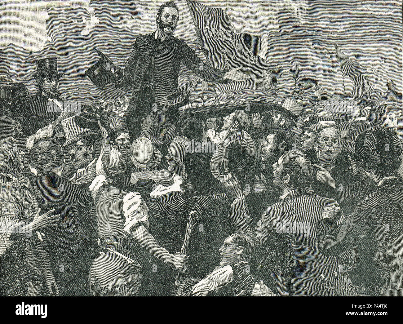 Charles Stewart Parnell, at an anti-rent meeting in Limerick, Ireland, 31 August 1879 - Stock Image