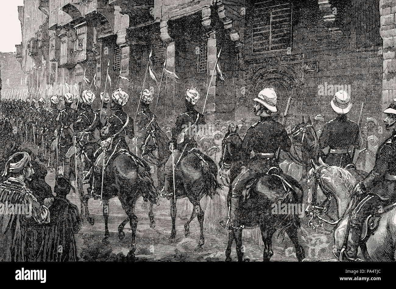British Bengal Cavalry at Cairo, British invasion in 1882, From British Battles on Land and Sea, by James Grant - Stock Image
