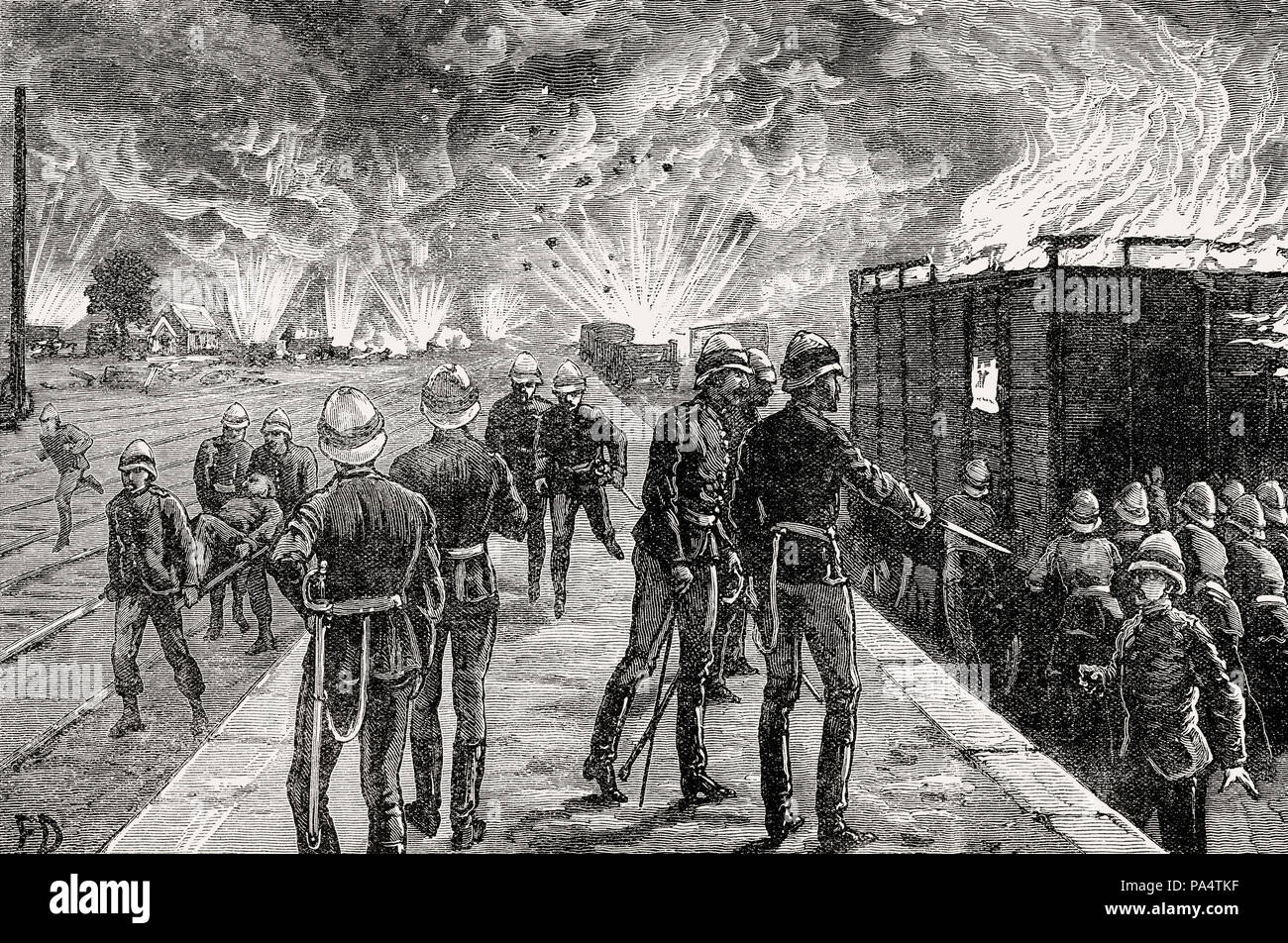 Explosion at Cairo Railway Station, British invasion in 1882, From British Battles on Land and Sea, by James Grant - Stock Image