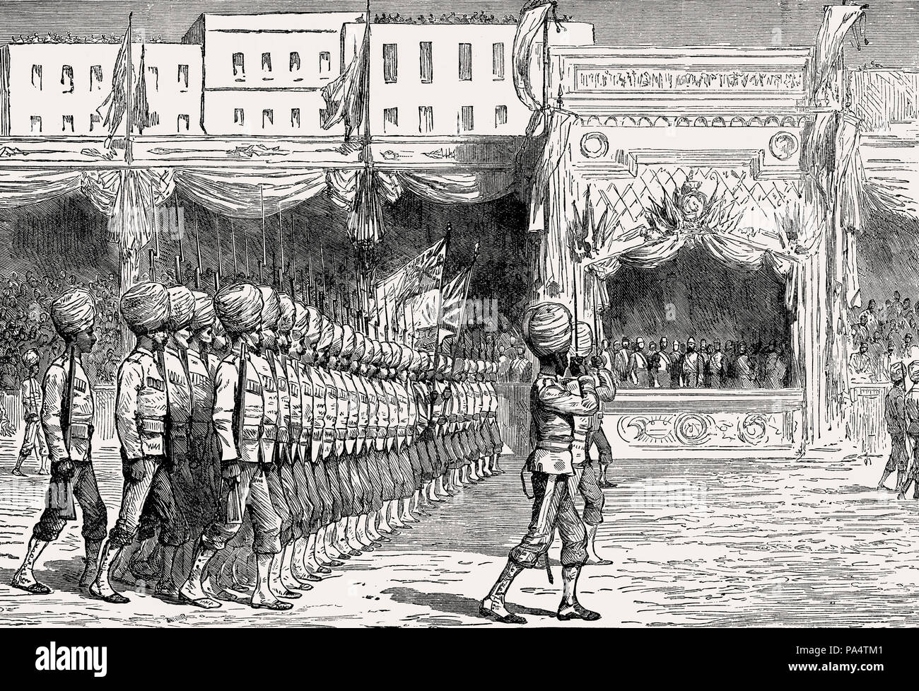 The British Indian Army at Cairo, British invasion in 1882, From British Battles on Land and Sea, by James Grant - Stock Image