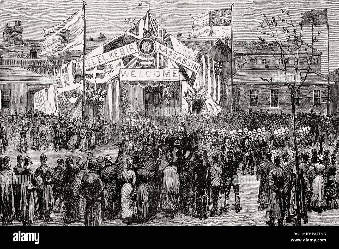 Royal Marine Light Infantry return to Chatham after the Battle of Tel-el-Kebir on 13th September 1882, Egyptian War, From British Battles on Land and  - Stock Image