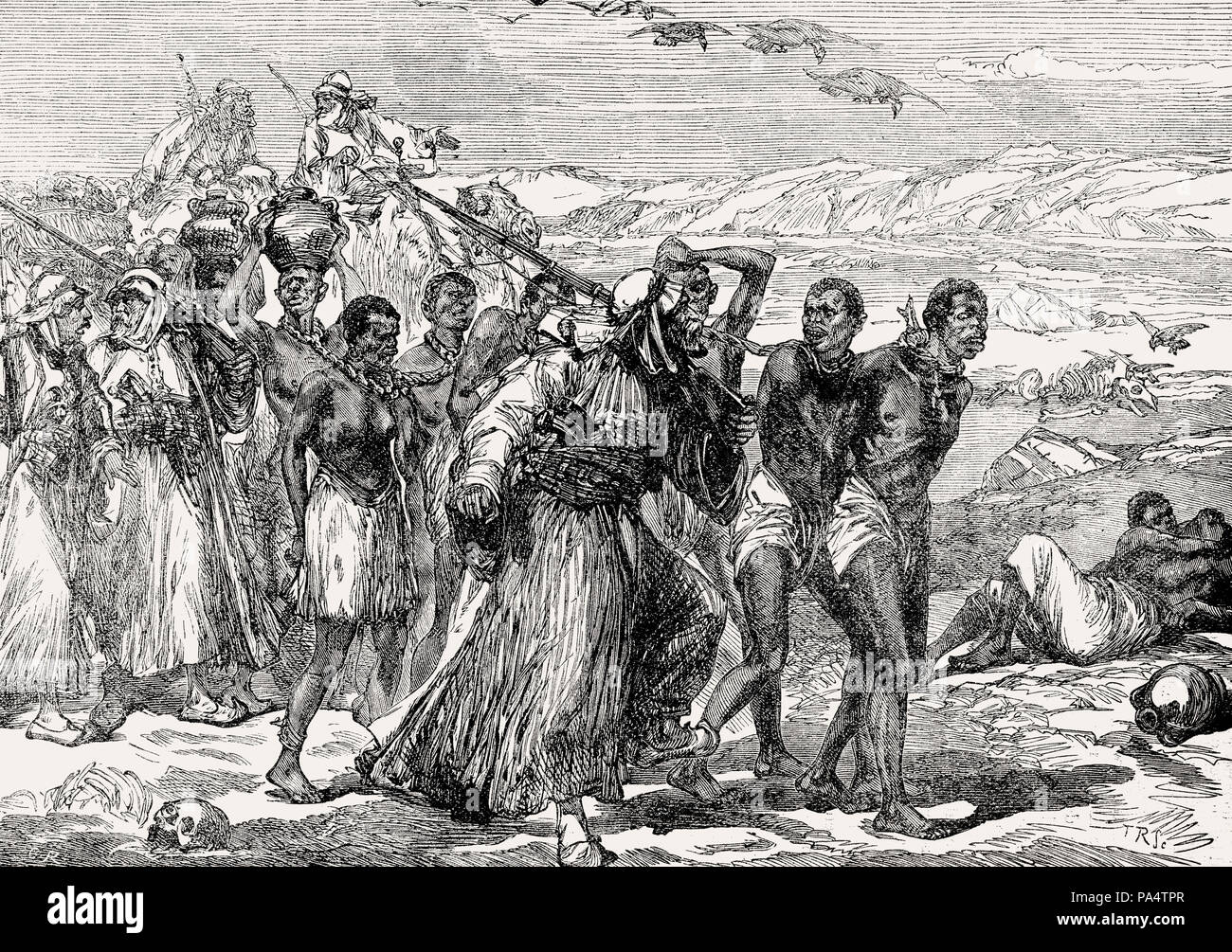 Slaves traversing the African desert, 19th century, From British Battles on Land and Sea, by James Grant - Stock Image