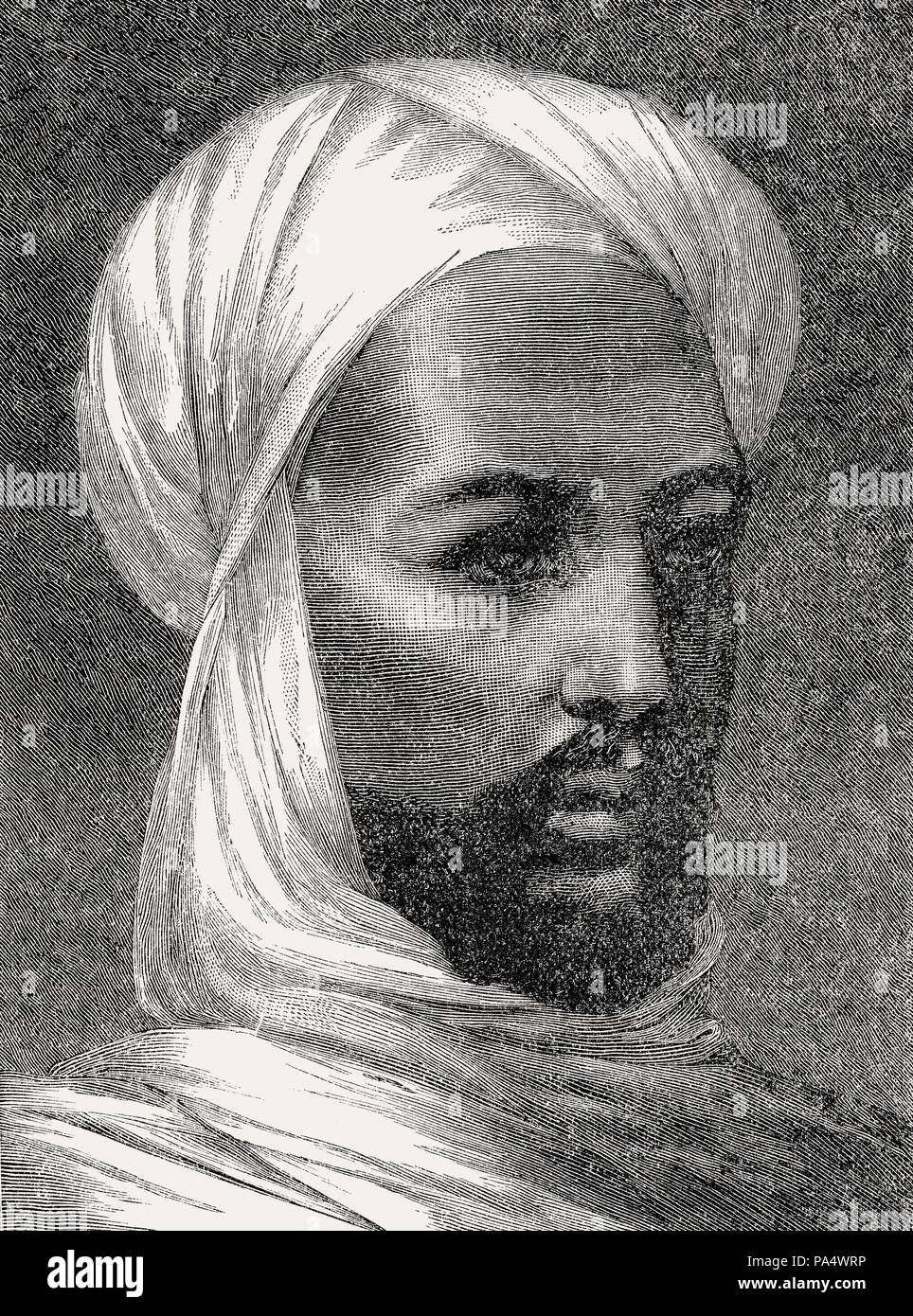 Muhammad Ahmad bin Abd Allah, 1844 – 1885, a religious leader of the Samaniyya order in Sudan, From British Battles on Land and Sea, by James Grant - Stock Image