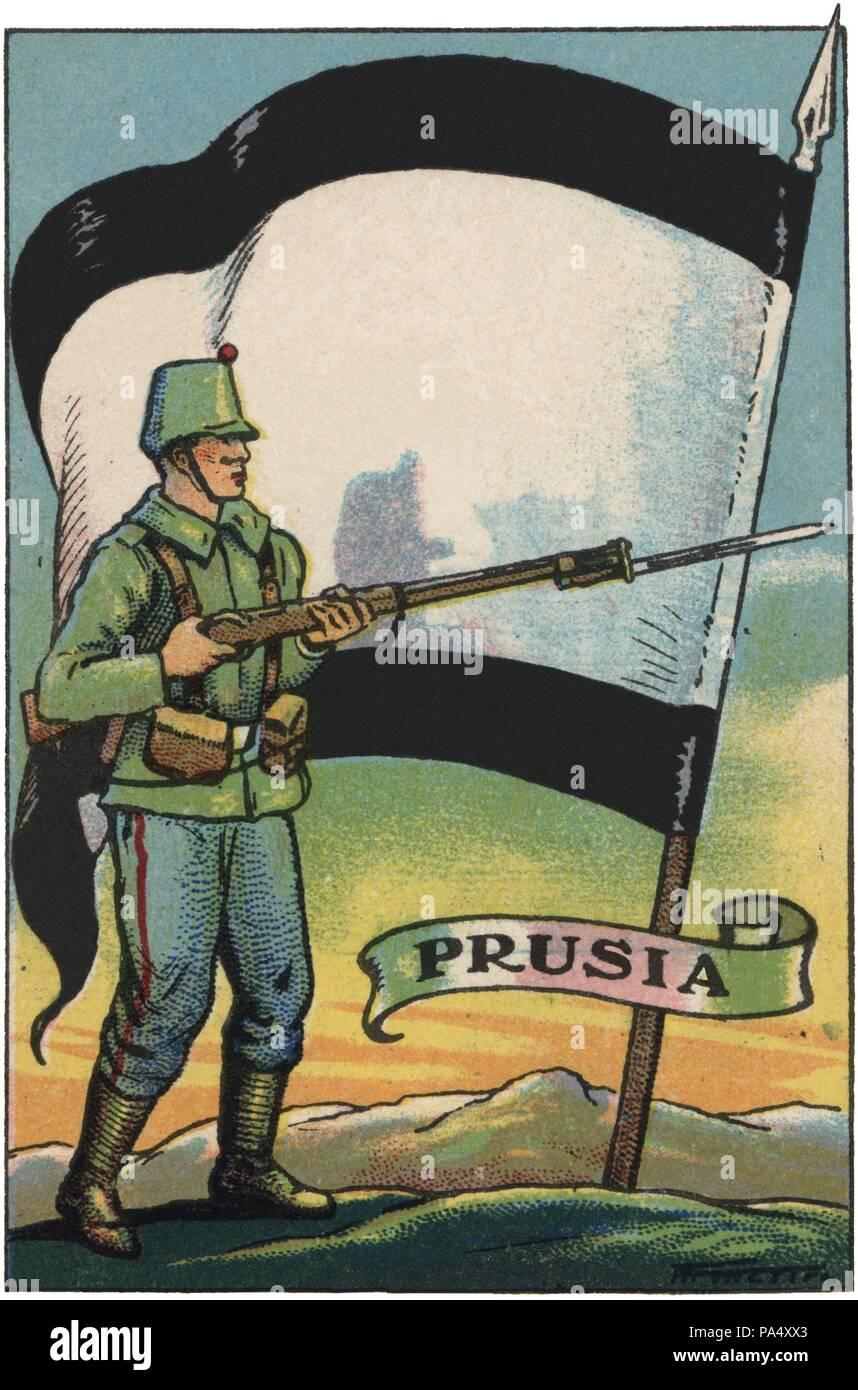 Bandera de Prusia y soldado de infantería. Colección de cromos Banderas del Universo. Años 1920. - Stock Image