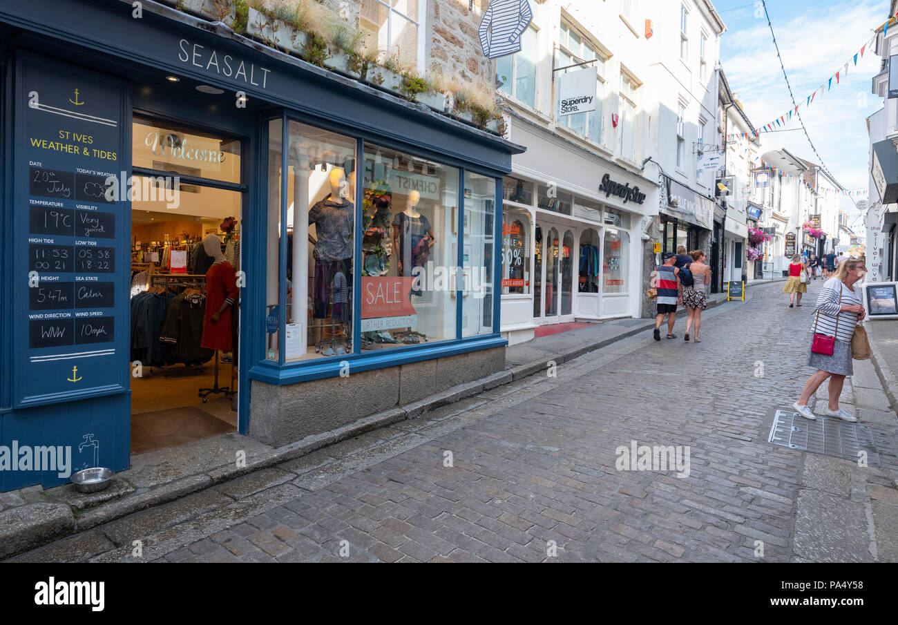 St.Ives Seasalt on Fore Street - Stock Image