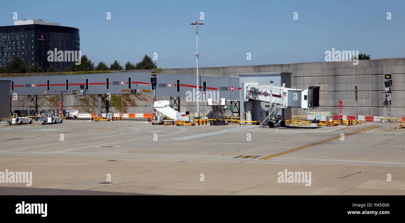 a jet bridge for passenger boarding of an aircraft, London Gatwick - Stock Image