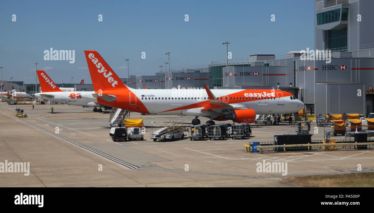 EasyJet planes on the apron at London Gatwick Airport, UK - Stock Image