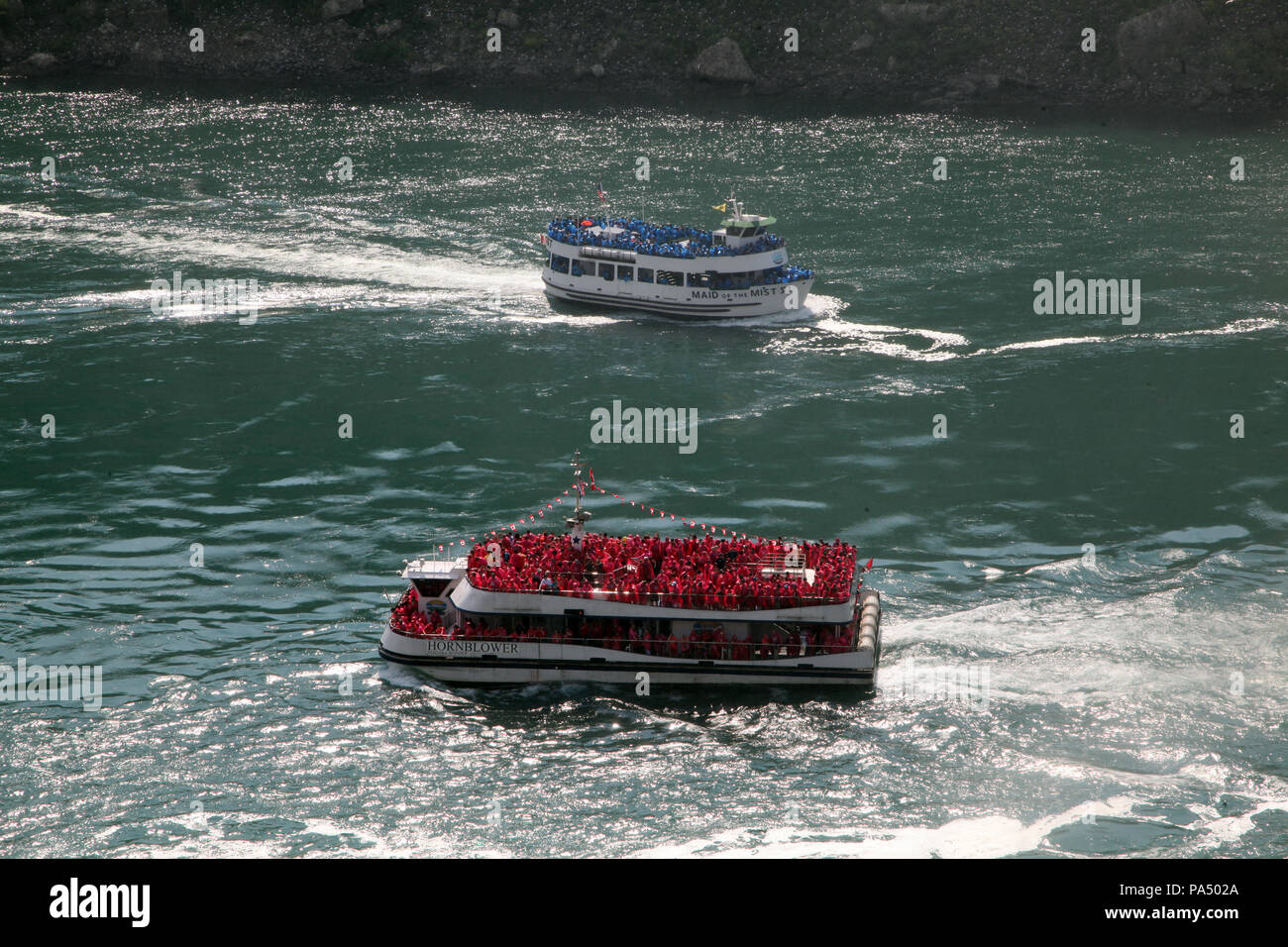 The Maid of The Mist VI & The Hornblower tourist boats at Niagara Falls, Ontario, Canada - Stock Image