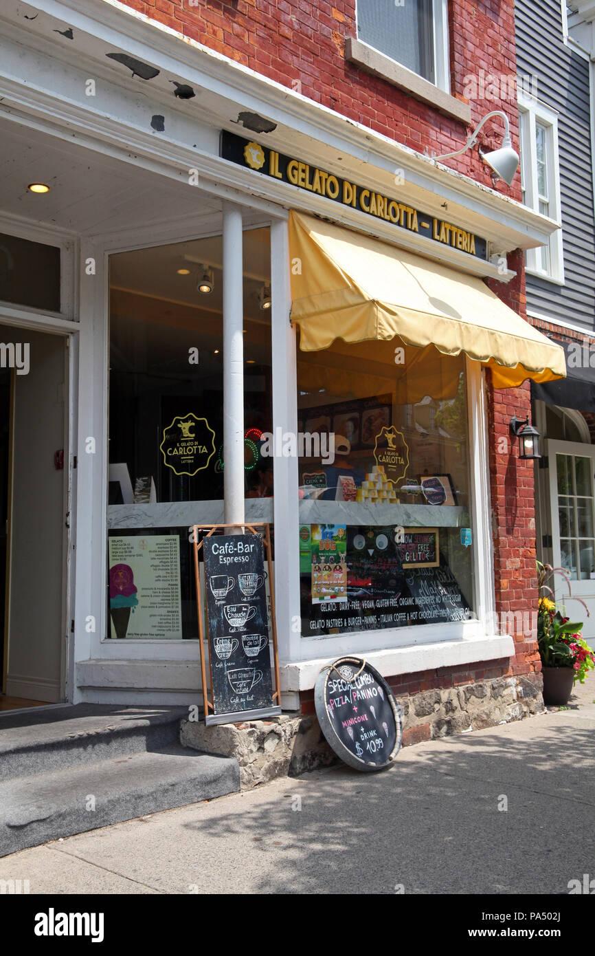 Il Gelato di Carlotta Latteria shopfront at Niagara on the Lake, Ontario, Canada - Stock Image