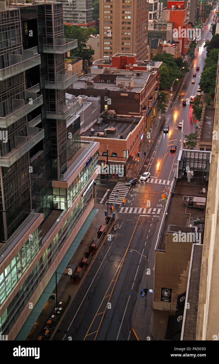 looking east out from the Chelsea Hotel, Toronto along Gerrard Street and towards Yonge Street - Stock Image