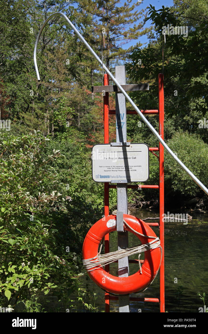 life saving equipment provide by Toronto Parks & Recreation, Toronto Islands, Ontario, Canada - Stock Image