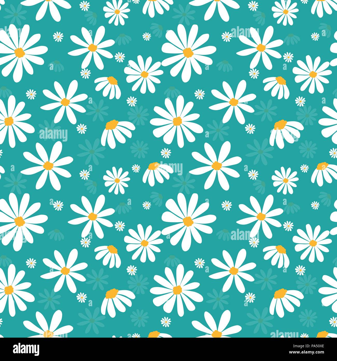 Vector Doodle White Daisy Flower Pattern On Pastel Mint Green
