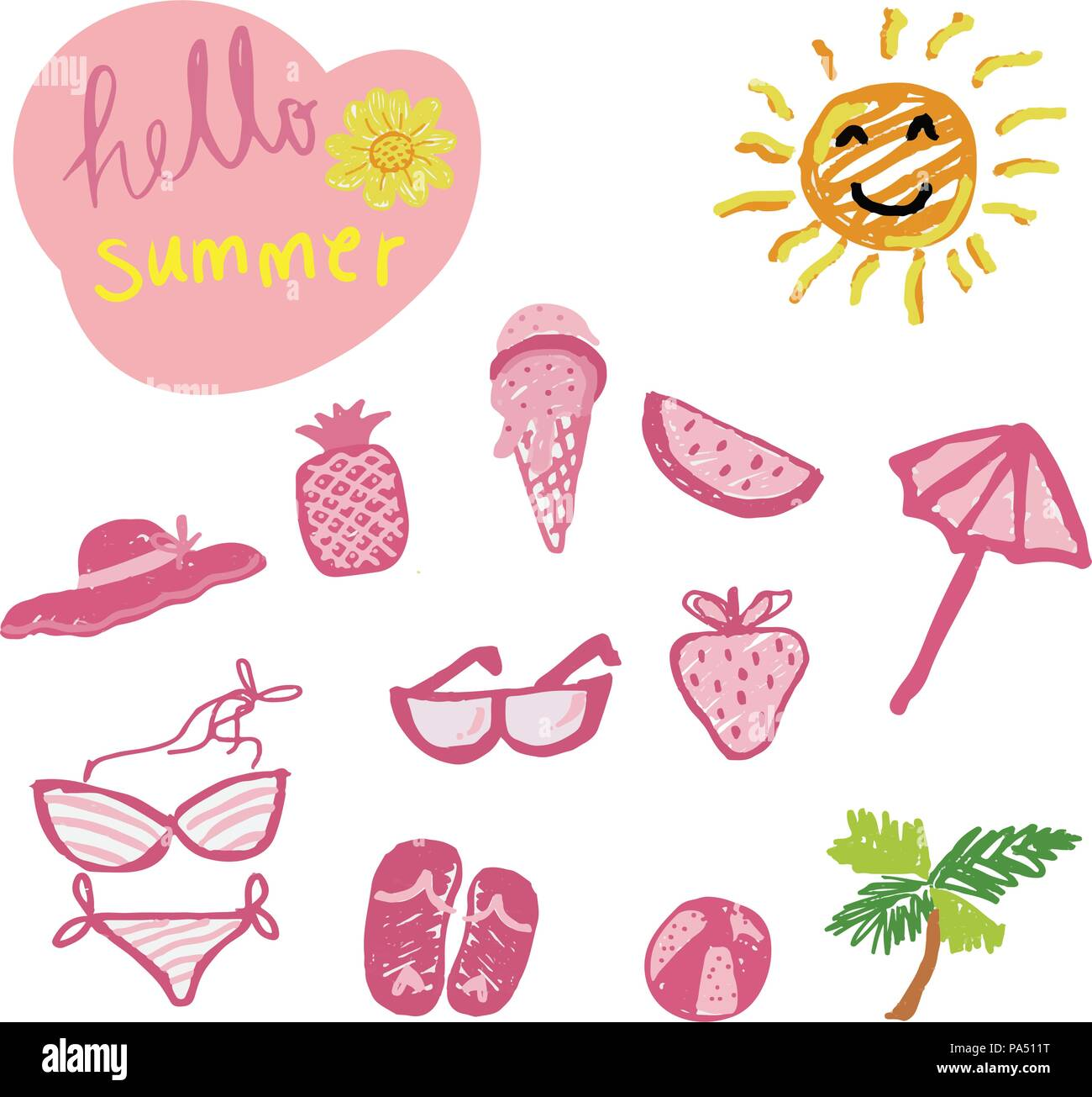 4790ddbfd39 isolated hand drawing doodle pencil pink colour Summer icon set with hello  summer word - Stock