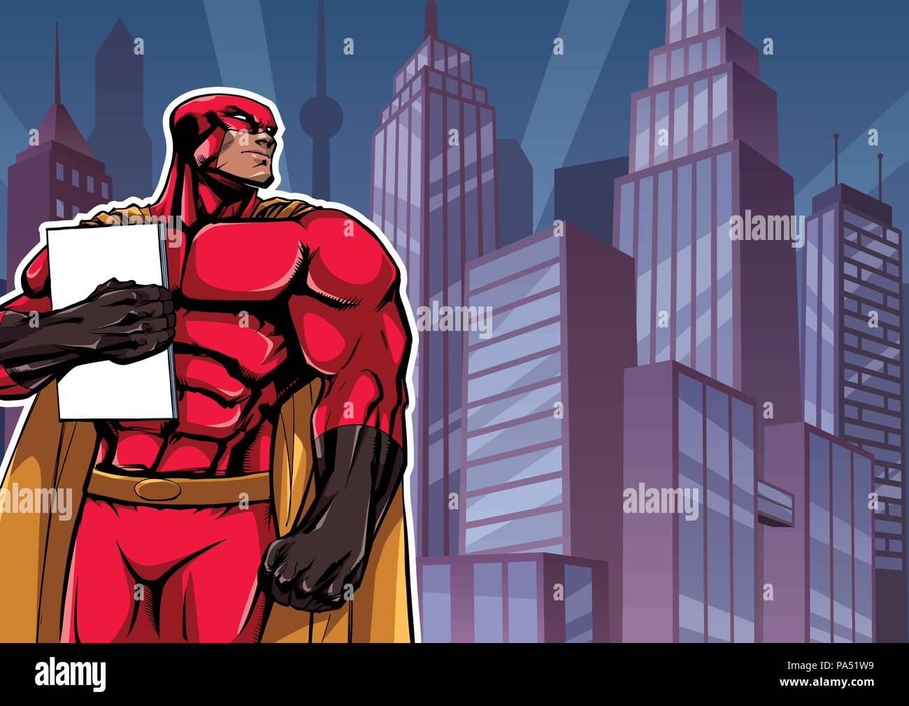 Superhero Holding Book in City - Stock Vector