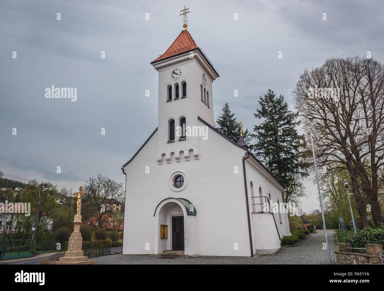 Saint Bartholomew Church in Breznice village in Zlin Region of the Czech Republic - Stock Image