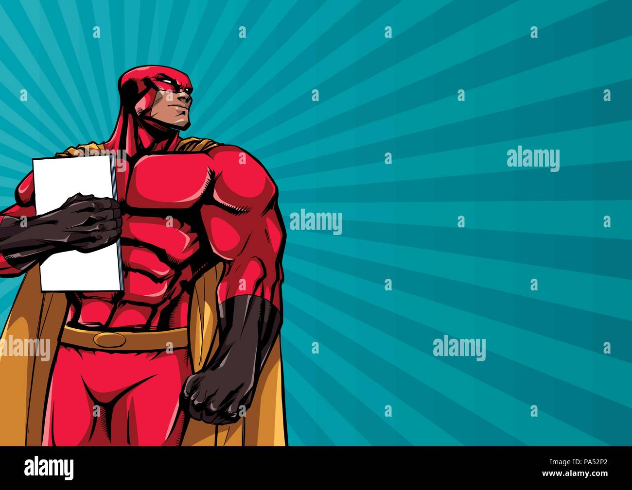 Superhero Holding Book Background - Stock Vector