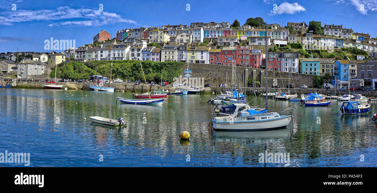 GB - DEVON: Panoramic view of Brixham Harbour (HDR Image) - Stock Image