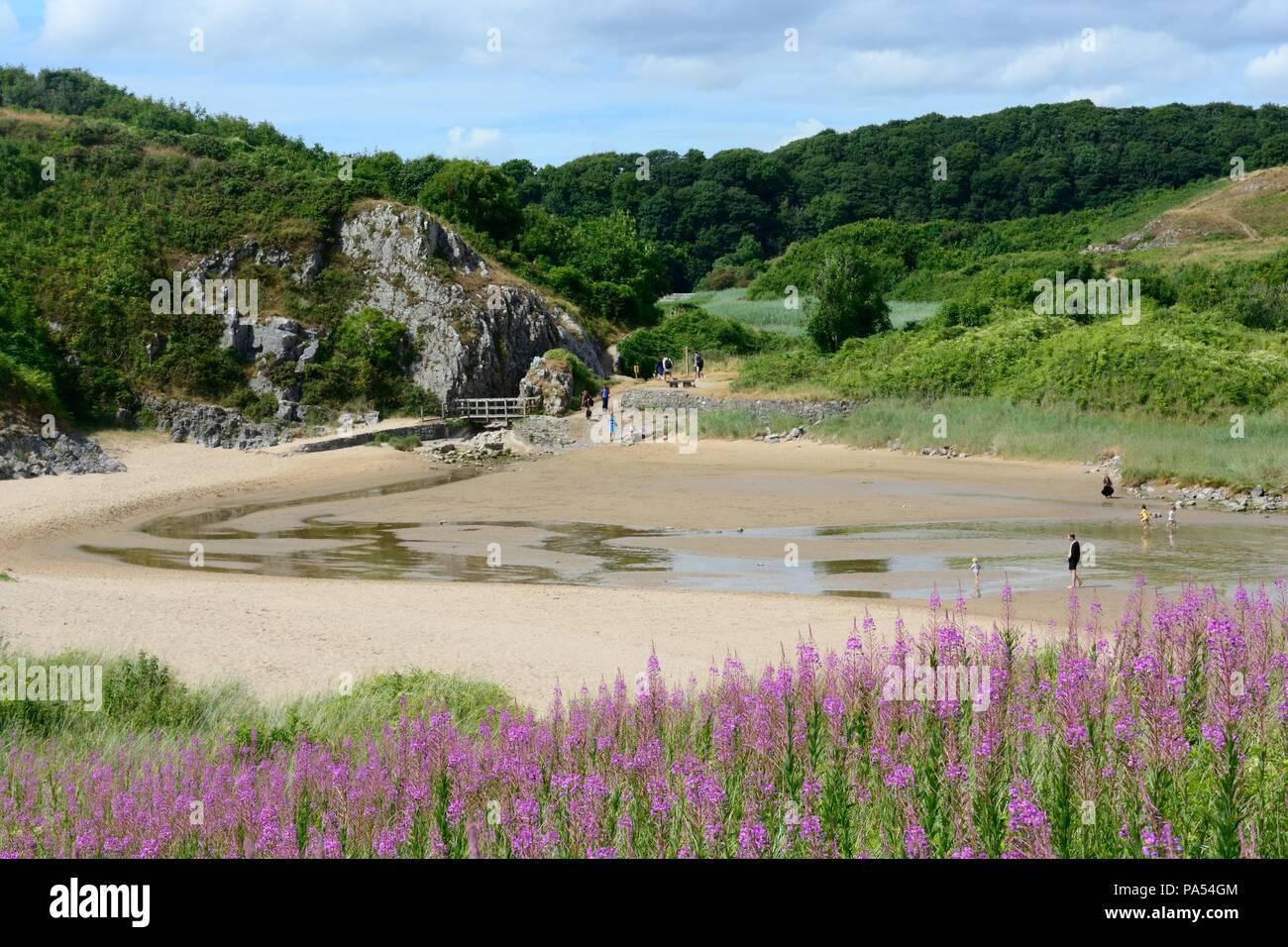 Broad Haven South St Brides Bay  beach towards Bosherston Lakes  Pembrokeshire Wales Cymru UK - Stock Image