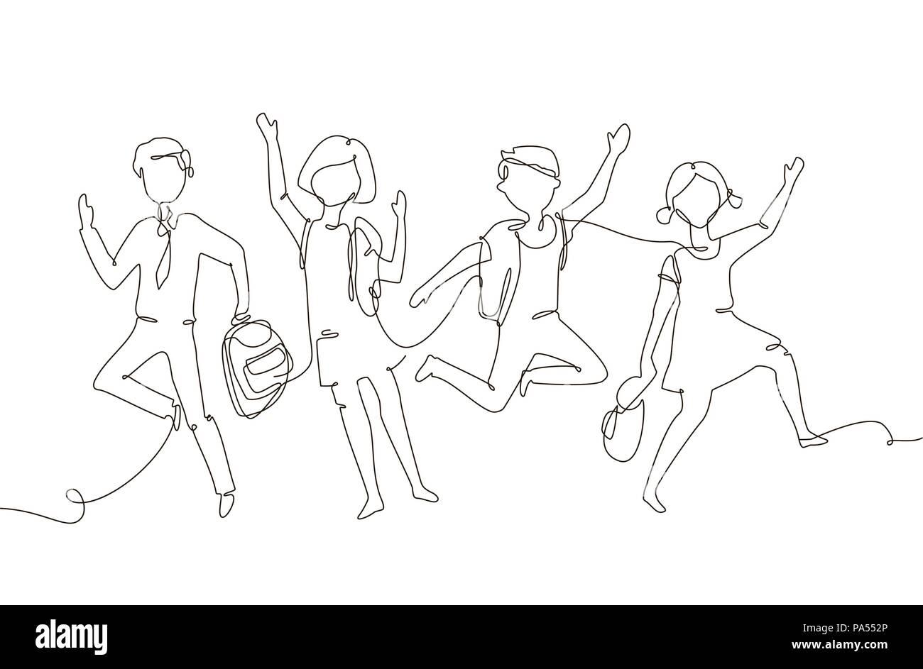 Happy schoolchildren - one line design style illustration - Stock Vector