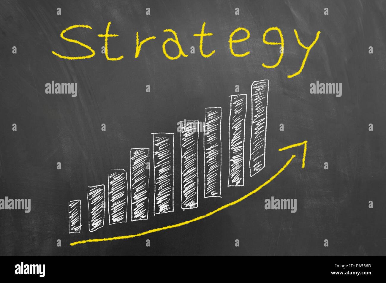 strategy arrow up bars chalk graphic on chalkboard or blackboard as