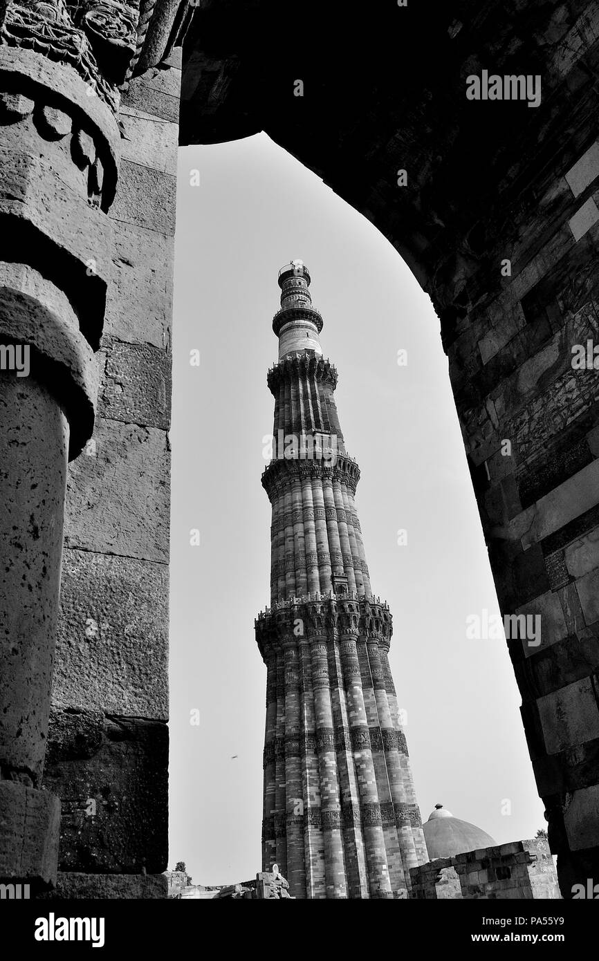 Qutub minar new delhi india stock image