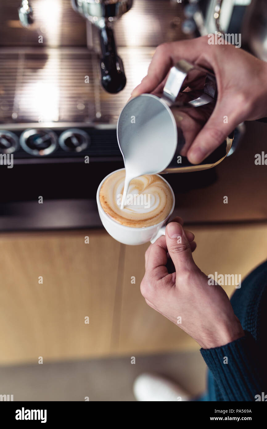 Procedure of making fresh coffee. - Stock Image