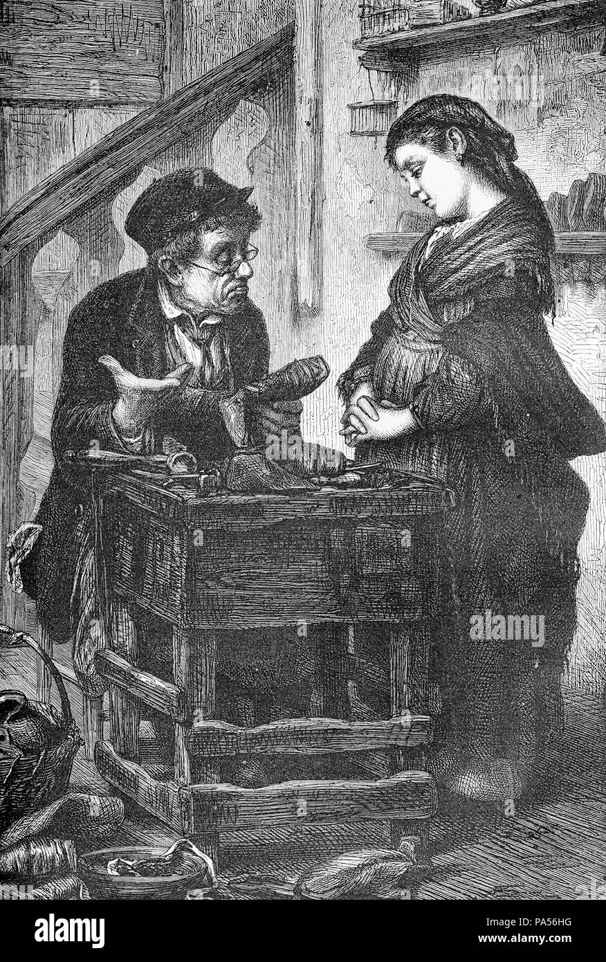 Humor vignette, the shoemaker tells the girl that he cannot repair her shoes, they are beyond hope, old print - Stock Image