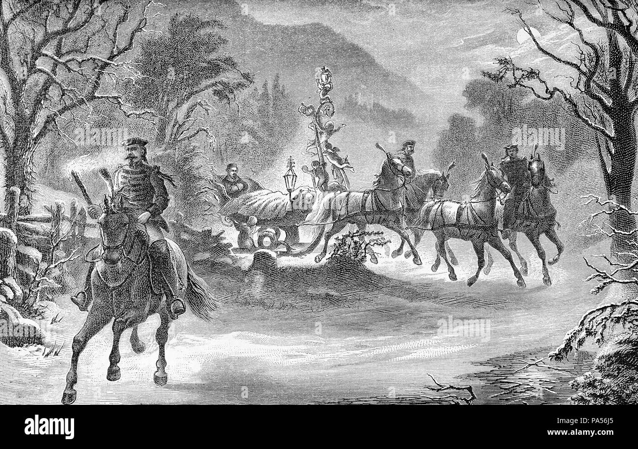 Ludwig II king of Bavaria travels in sleigh by night, landscape with snow, old illustration - Stock Image