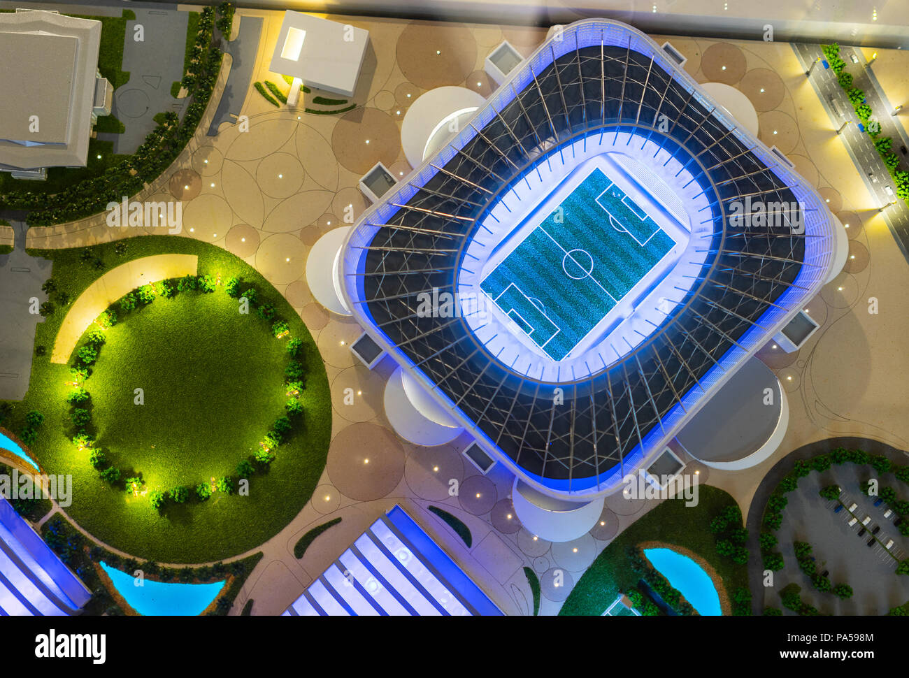 July 7, 2018, Moscow, Russia The mock-up of the Khalifa International Stadium at which the matches of the FIFA World Cup 2022 in Qatar will be held. Stock Photo