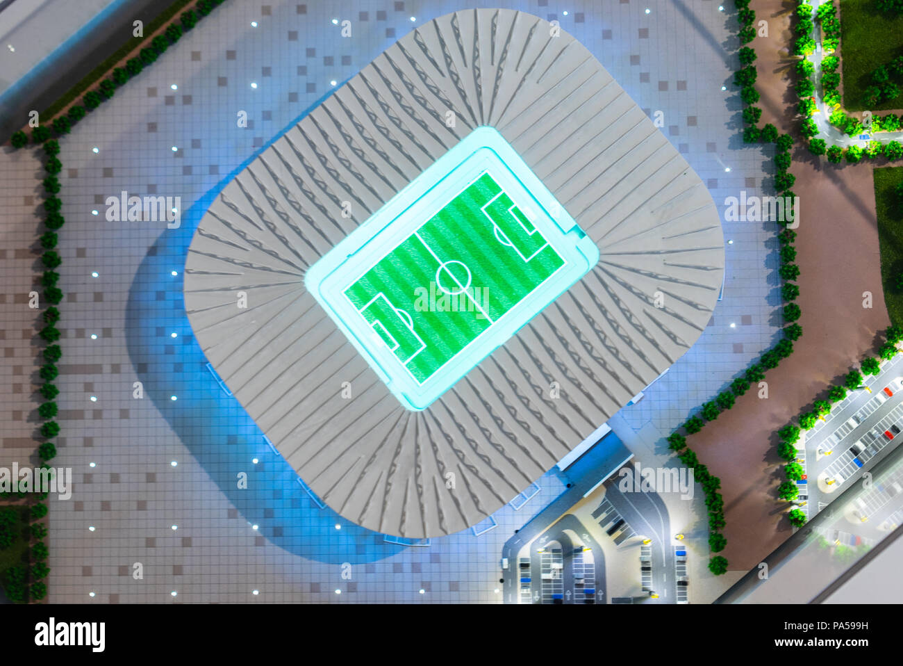 July 7, 2018, Moscow, Russia The mock-up of the Ras Abu Aboud Stadium at which the matches of the FIFA World Cup 2022 in Qatar will be held. Stock Photo