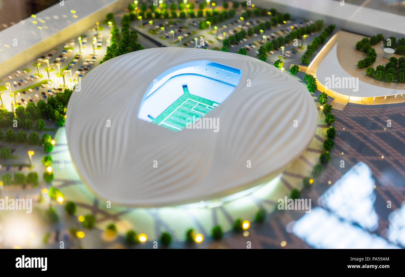 July 7, 2018, Moscow, Russia The mock-up of the Al Wakrah Stadium at which the matches of the FIFA World Cup 2022 in Qatar will be held. Stock Photo