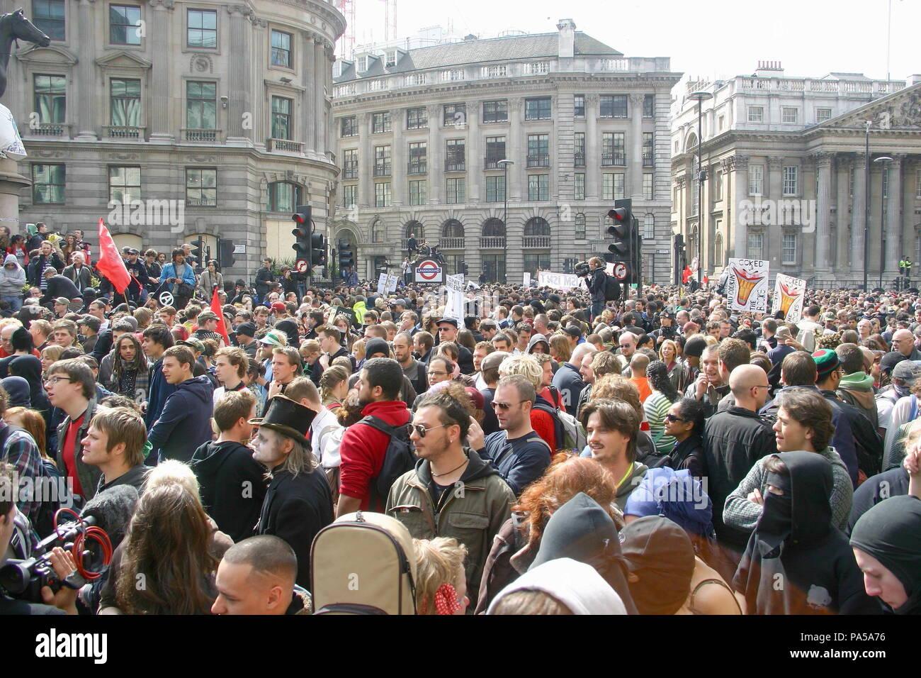 Anti Capitalist demonstration at Bank, City of London, UK. - Stock Image