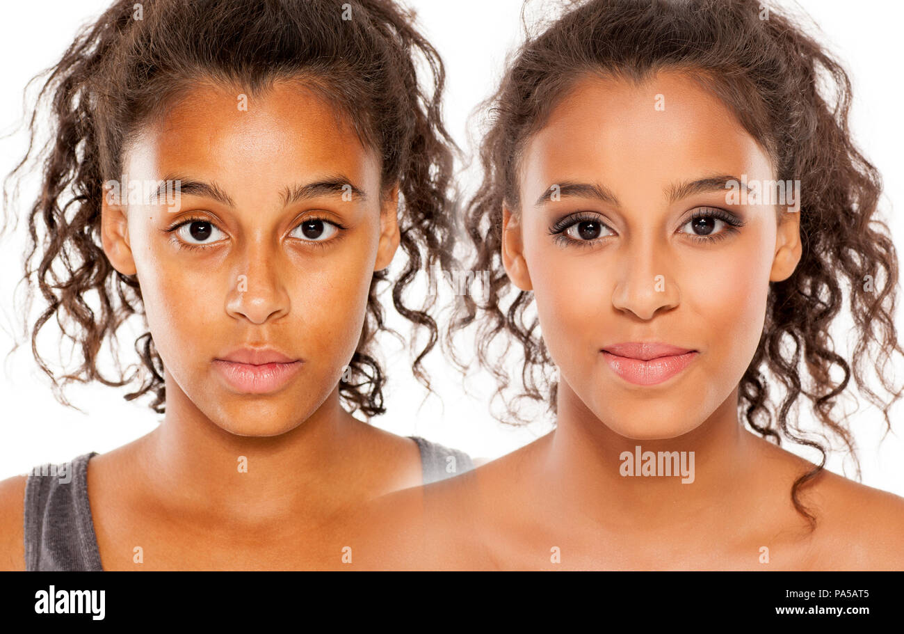 comparative portrait of black skinned girl, before and after makeup - Stock Image