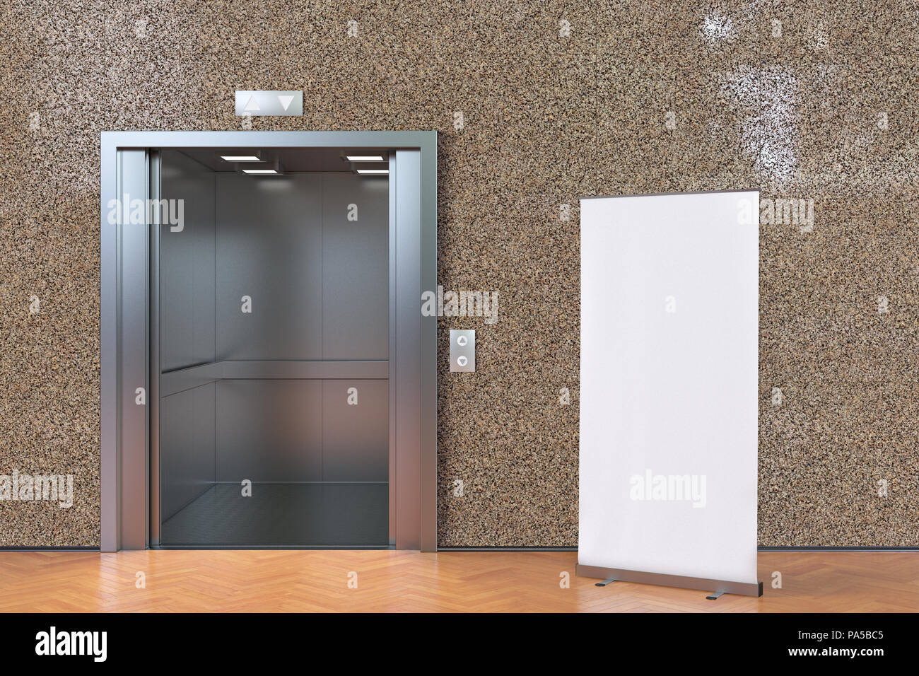 Elevator With Open Doors And Blank Roll Up Banner In Modern Interior