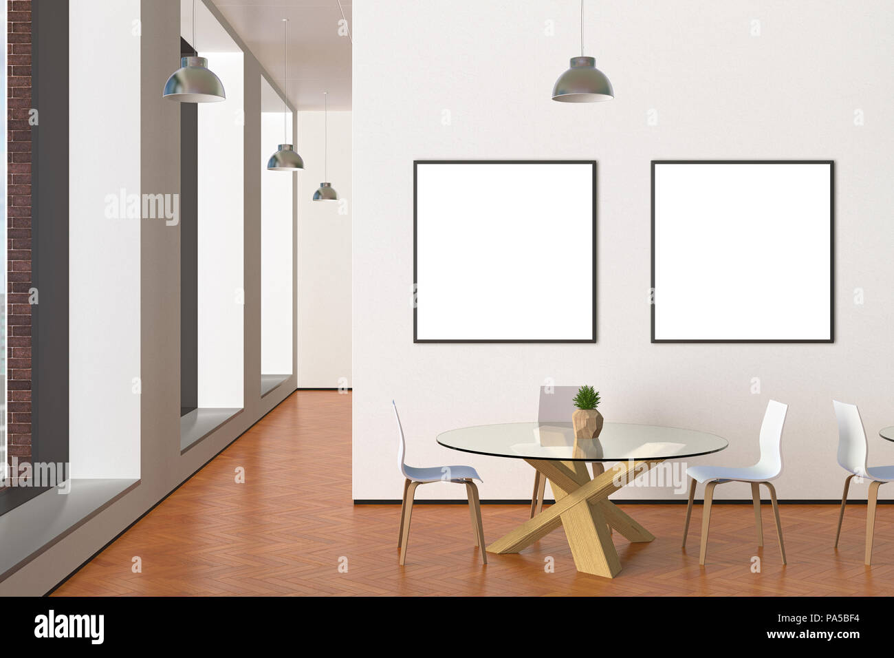 Two blank square posters mock up in modern cafe interior d