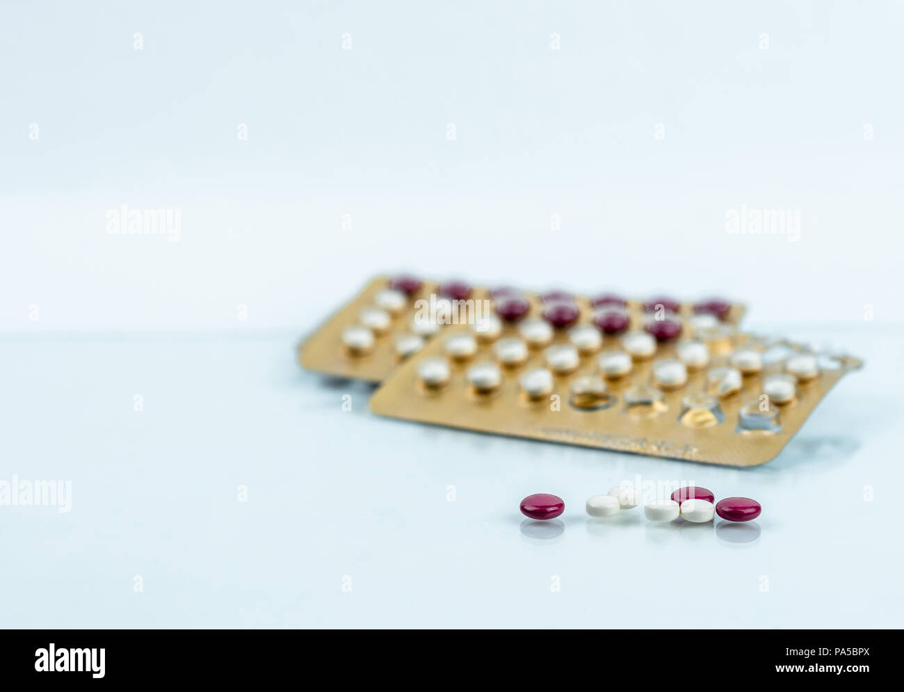 Oral contraceptive pills. Birth control pills. Hormones for contraception. Family planning, hormonal acne, gynecologist concept. Ovulate on birth cont - Stock Image