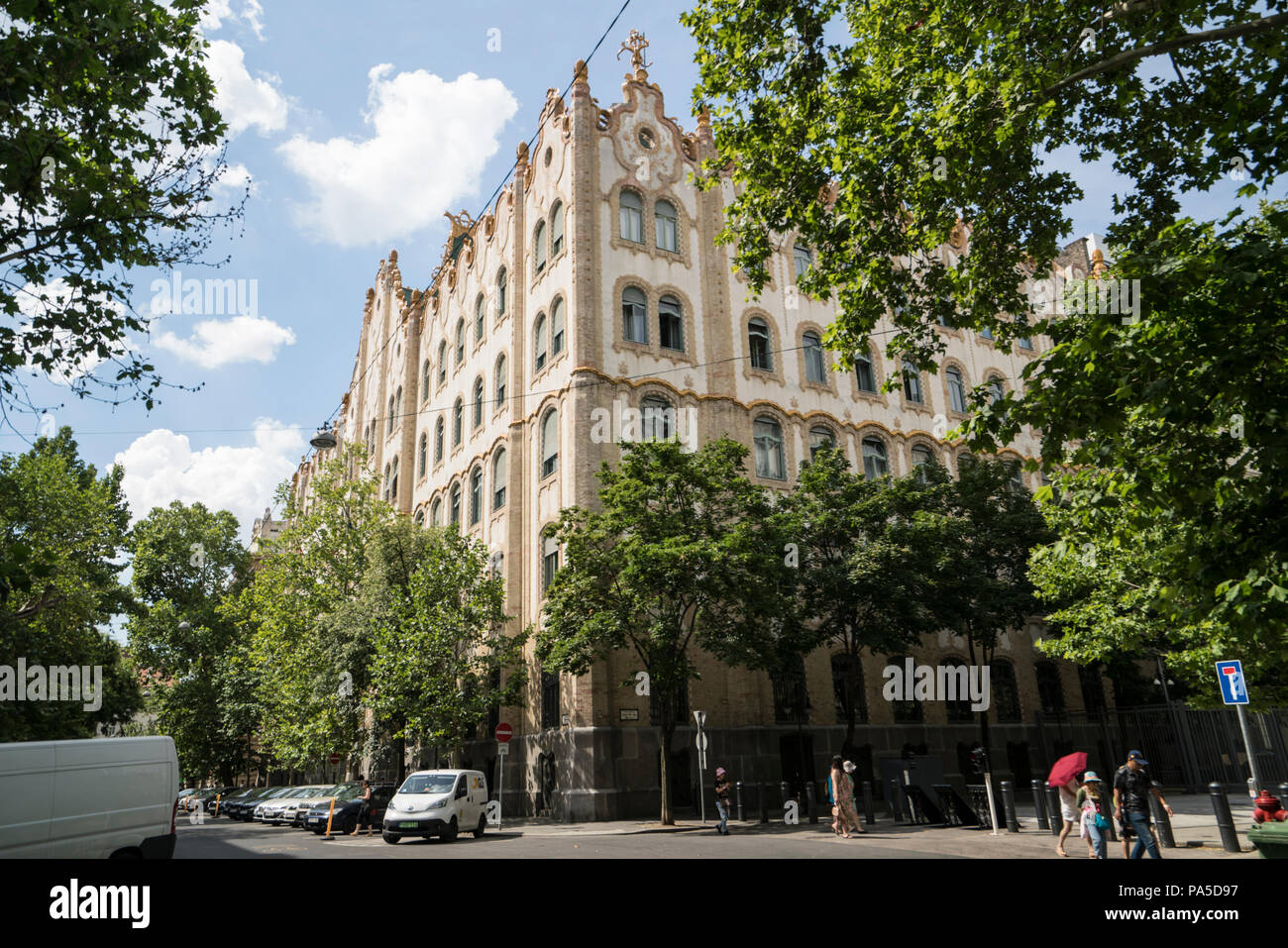 View of the Palace of the postal savings bank in Budapest, Hungary - Stock Image