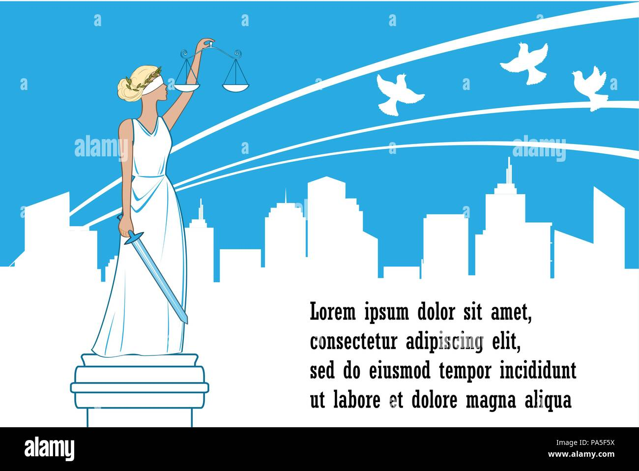 Goddess of justice Themis on the city background. Peace, safety and immunity concept. Femida with balance and sword - Stock Vector