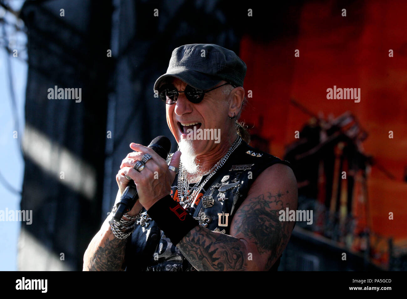 Vocalist Mark Tornillo Of German Heavy Metal Group Accept Performing Live On Stage At Rockwave Festival in Terravibe park 37th km north of Athens. - Stock Image