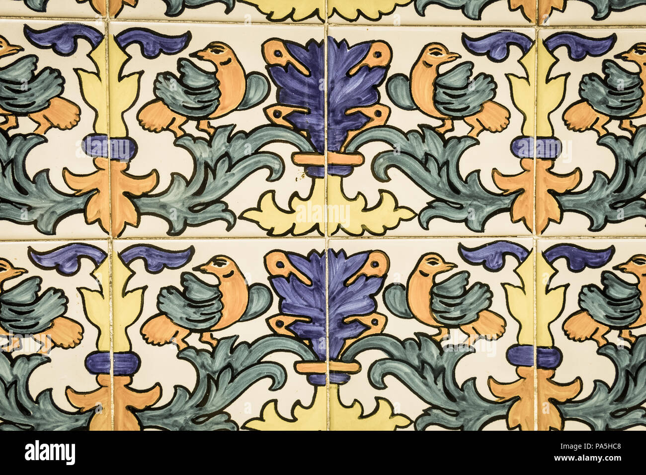 Set of typical Catalan mosaics, with animal and nature motifs. Barcelona, Spain. Image with vintage and yesteryear effect - Stock Image