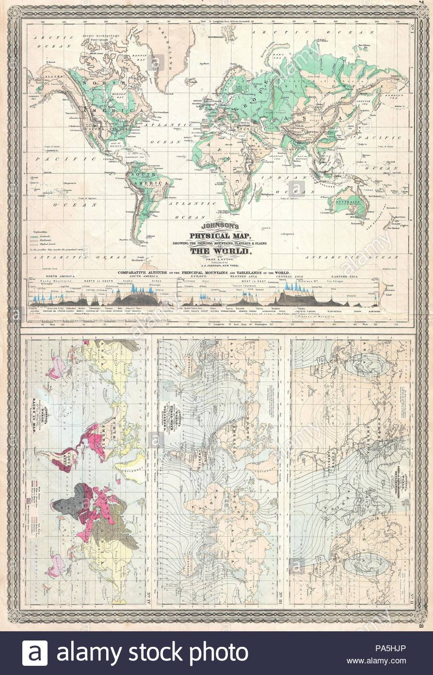 1870 Johnson Climate Map Of The World W Physical Map Tidal Map